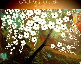 """SALE 36"""" Oil Landscape painting Abstract Original Modern palette knife  Cherry Blossom Tree oil  impasto oil painting by Nicolette Vaughan H"""