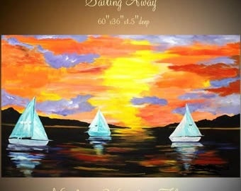 """SALE Enormous Abstract painting,Original comtemporary Art,Sailing Away Ready to hang 60"""" X 36""""  by Nicolette Vaughan Horner"""