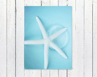 Starfish Decor Photography | Printable Kitchen Art | White Starfish + Beach House Blue Bowl | Instant Download Print, Kitchen Wall Art Decor