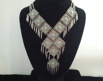 Now On Sale Vintage Bib Necklace - 1960's 1970's Collectible - Vintage Faux Turquoise Fringe Statement Native American Style Jewelry