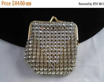 Now On Sale Vintage Rhinestone Coin Purse, Antique 1920's 1930's Evening Bag, Jeweled Formal Art Deco Accessories