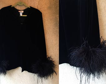 Black VELVET Marabou Feather Trim 80's Dynasty Fancy Dramatic Top Cardigan