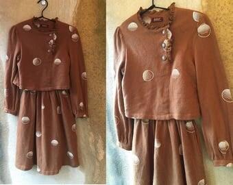 60's Brown Layered Knit Wool Funky Geometric Chic Secretary Dress