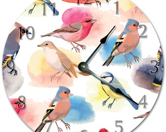 "10.5"" BIRDS ON SPRING Clock - Living Room Clock - Large 10.5"" Wall Clock - Home Décor Clock - 5856"