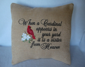 Cardinal Red Bird Dogwood Blossoms Heaven Burlap Throw  Pillow Cover 14 By 14 Size Machine Embroidered