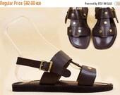 70s Vtg NOS Brown Leather STUDDED Gladiator Sandals / Deadstock Hippie Boho Rocker Flats Italy UNISEX 8 D Mens 10 Wms Eu 41 42