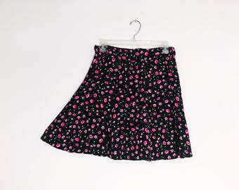 Black Pink Poppy Floral 90s Inspired Skirt made from Vintage Fabric Limited Edition Eco Conscious Shred Threads Original