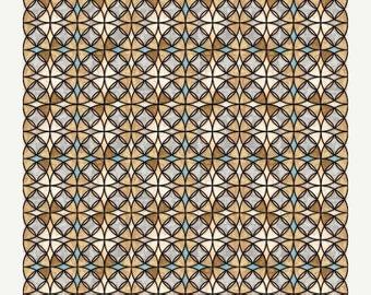 12% off thru July HEAVENLY-by the half yard by QT fabrics- Christian stained glass windows circles tan white blue-Dan Morris~24575-E