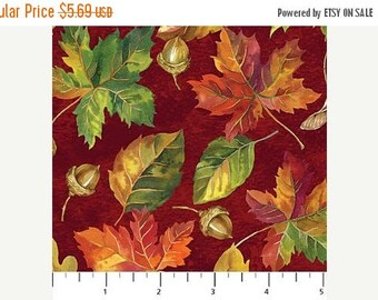 12% off thru July GIVE THANKS Northcott by the HALF yard cotton quilt fabric acorns multicolor leaves on red fall autumn 20550 26