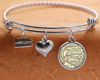 Harrisburg PA Map Charm Bracelet State of Pennsylvania Bangle Cuff Bracelet Vintage Map Jewelry Stainless Steel Bracelet