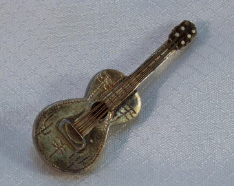 Vintage c1950's Sterling Guitar Brooch, Taxco Hallmarked Sterling Guitar Brooch