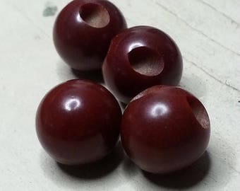Fab Set of 4 Vintage Bakelite Ball Buttons ~ 7/16 inch 12mm ~ Dark Chocolate Coffee Brown Sewing Buttons
