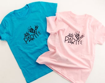 Lets Party Tee | Kids birthday party tee | Kids birthday | Party tee shirt for kids | kids unisex tee