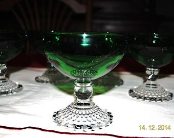 6 - Anchor Hocking Champagne or Sherbet Glasses in Forest Green Bubble