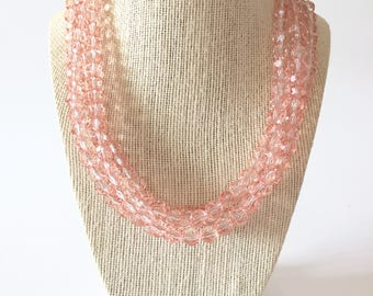 Peach Crystal Chunky Statement Necklace