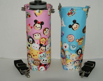"""CHOOSE YOUR COLOR for Made to Order Insulated 40oz Hydro Flask Holder with Interchangeble Handle and Strap Made with """"Tsum Tsum - Original"""""""