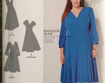 Simplicity SO308/1011, Size 20W-22W-24W-26W-28W, Women's Dress in Two Lengths Pattern, UNCUT, Amazing Fit, Wedding, Career Wear, 2015
