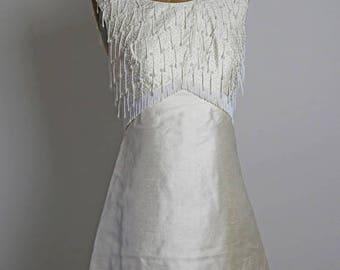 ON SALE 1960s Beaded Silk Dress