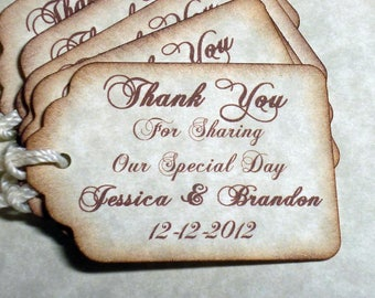 50 PERSONALIZED Thank you  -Wedding or Favor tags-Shower or Gift tags-Hang Tags