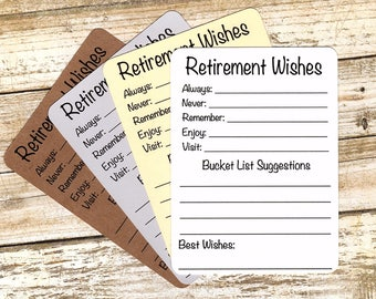 Set Of 12 Retirement Wishes Advice Bucket List Suggestion