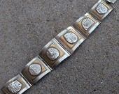 """Vintage Taxco Mexico Sterling Silver Relief Aztec Mayan 7.5"""" Panel Link Bracelet"""