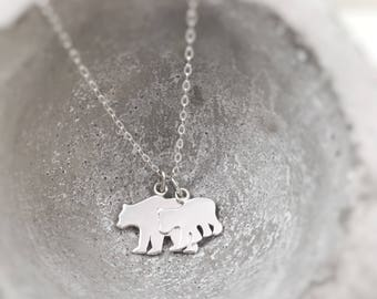 Mama Bear Necklace Sterling Silver Baby Bear Choose Number of Cubs Gift for Mom