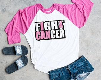 Fight Cancer, Cancer awareness shirt, raglan shirt, breast cancer shirt, Fight Cancer, NL 6051 pink/Hthr white