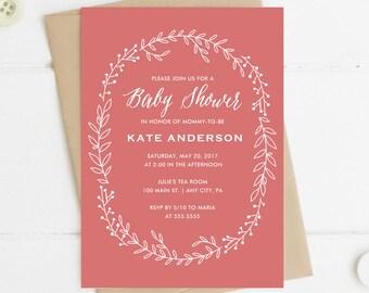 Printable Baby Shower Invitation, Leaf Wreath