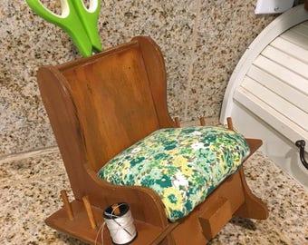 vintage spool rack handmade pin cushion rocking chair with drawer organized