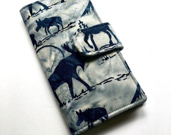 Moose Wallet, Womens Clutch Wallet, Woodland Vegan Bifold Wallet, Navy