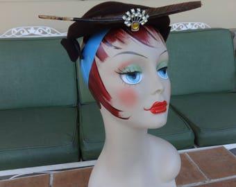 vintage women's hat 1940's felt Dubarry French feather rhinestones art deco WWII retro