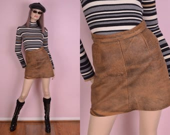 80s Brown Distressed Leather Skirt/ US 8/ 26.5 Waist/ 1980s