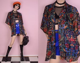 90s Oversized Scarf Print Sheer Top/ Small/ 1990s