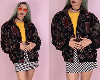 90s Funky Print Velvet Oversized Bomber Jacket/ Medium/ 1990s