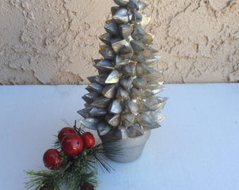 vintage silver christmas tree in clay pot holiday decor - Vintage Silver Christmas Tree