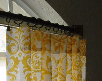 SALE Yellow and White Damask Curtains - Rod Pocket - 63 72 84 90 96 108 120 Long x 25 or 50 Wide