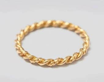 Double twisted ring - sterling silver, gold filled or rose gold filled