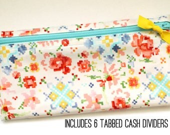 Envelope system wallet with 6 dividers | Dave Ramsey budget |  watercolor laminated cotton
