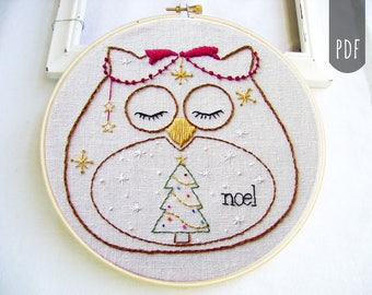 Embroidery Pattern PDF Owl Holiday Christmas Noel Tree