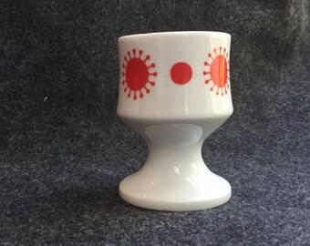 SIX Alfoldi sunburst Egg Cups atomic retro dark orange red mcm starburst Hungary 1970s Alfoldi Porcelan