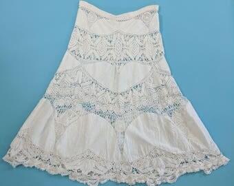 1970s 80s White Cotton Mesh Crochet Skirt Sheer Crochet Skirt Lim's Shanghai