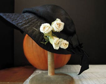 Women's Edwardian Vintage Hat D.J. Healy Shops Detroit / Millinery Flowers / Black Bonnet / Child's Hat  / Prairie Wedding / Halloween