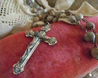 Vintage Sterling Silver Rosary / Sterling Silver Pectoral Rosary / Crucifix / Cross / Polished Stone Beads