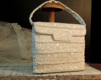 Vintage Walborg Beaded Purse / Ivory White Handbag / Wedding Purse / Sequins and Seed Beads