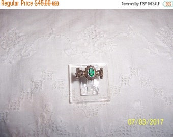TWICE A YEAR, 25% Off Vintage Green Stone Ankh ring. Sterling silver.