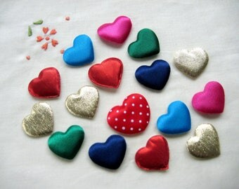 100 pieces Small Heart Padded Ornaments for Valentine's, Crafting, Gold, Metallic Red, Green, Fuchsia, Blue, Navy Blue, Polka Dot, 1 inch