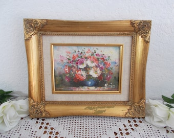 Vintage Art Gold Baroque Framed Floral Oil Canvas Painting Midcentury Hollywood Regency Paris Apartment French Country Garden Cottage Decor