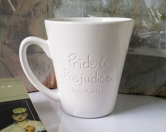 Jane Austen Mug Pride and Prejudice Engraved Mug, Literary Cup, Jane Austen Lover, Pride and Prejudice Mug, Unique Mug, Coffee Cup, Book Mug