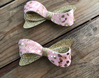 Pink and Gold Glitter Sweetie Bow Leopard Print Girls Bows Newborn Baby Girl Headbands Photography Props Girls Pigtail Tail Set