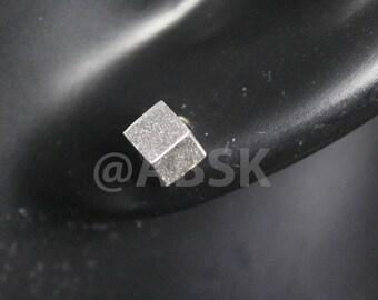 Genuine 925 STERLING SILVER 3D SQUARE Cube Matt Finish Stud 5mm Earrings SN2